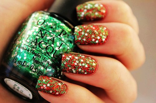 colorful glitter christmas nail art for girls - cute glitter christmas nail art -f39284